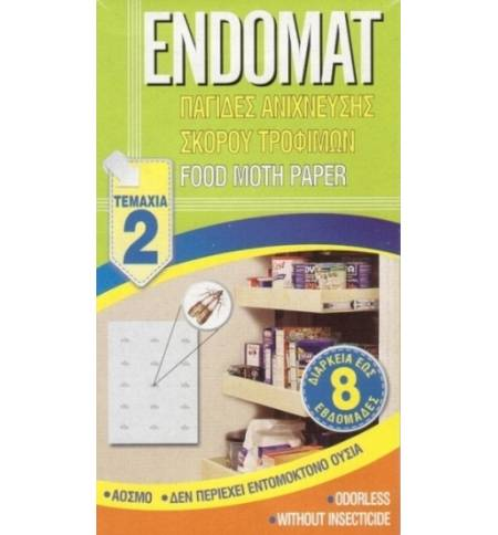 2 pcs ENDOMAT FOOD MOTH PAPER ODORLESS FOR 8 WEEKS WITHOUT INSECTICIDE