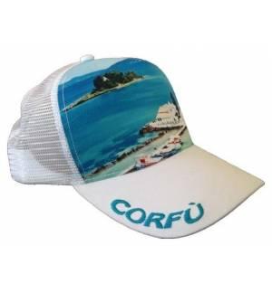 Mesh Souvenir Καπέλο Corfu Κέρκυρα Πεντάφυλλο τζόκεϊ 100% Πολυέστερ