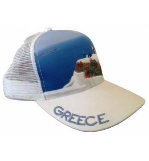 Mesh Souvenir Καπέλο Greece Ελλάδα Πεντάφυλλο τζόκεϊ 100% Πολυέστερ