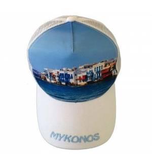 Mesh Souvenir Καπέλο Mykonos Μύκονος Πεντάφυλλο τζόκεϊ 100% Πολυέστερ