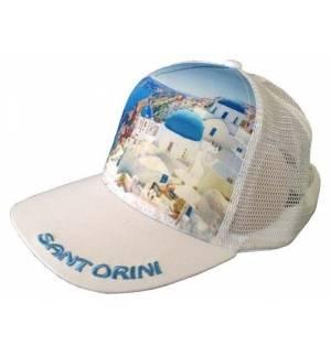 Mesh Souvenir Καπέλο Santorini Σαντορίνη Πεντάφυλλο τζόκεϊ 100% Πολυέστερ