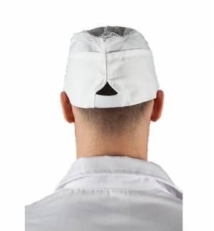 Λευκός Σκούφος εργαστηρίου με δίχτυ 421 100% βαμβάκι ρυθμιζόμενος με Velcro