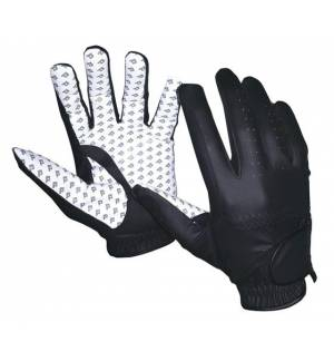 BLACK / WHITE EQUESTRIAN RIDING GLOVES HORSE TACK ENGLISH Synthetic Leather Amara
