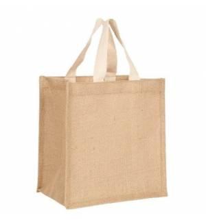 UBAG Cuba Μικρή τσάντα αγοράς απο γιούτα με πλακέ βαμβακερά χερούλια 100% Jute μέγεθος 25x26x17 cm