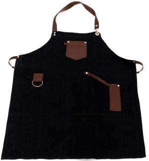 black jeans Apron with leather details and towel ring 85x65cm MARK713