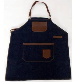 Blue jeans Apron with leather details 85x65cm MARK714