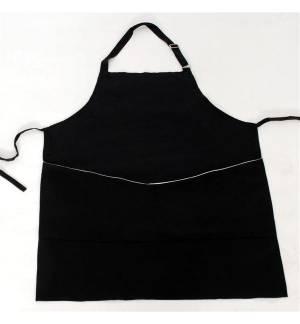 Ποδιά μαύρη από καπαρντίνα 240γρ 65/35 με λευκή λεπτομέρεια στην τσέπη 85x65cm MARK717