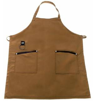 Brown Apron with leather details and towel ring 85x65cm MARK719