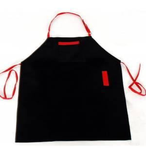 Ποδιά μαύρη με κόκκινες λεπτομέρειες από καπαρντίνα 240γρ 85x65cm MARK726 65p/35c