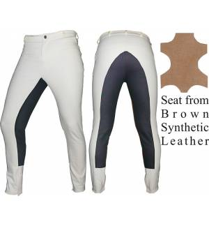 Ivory Synthetic Leather Dressage & Horse Riding Pants Full Seat