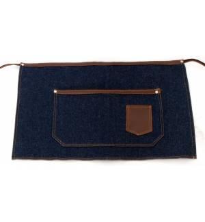 Ποδιά μέσης τζιν μπλε με δερμάτινες λεπτομέρειες 35x60cm με τσέπες MARK741