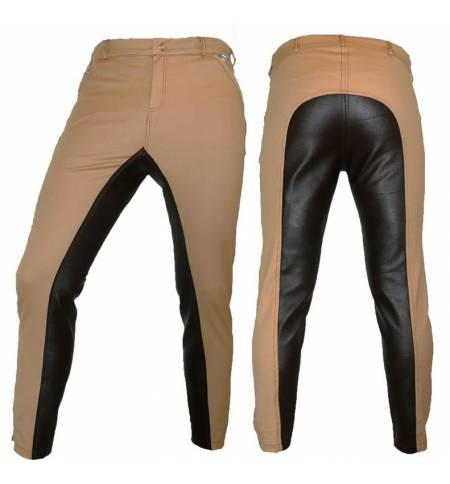Beige/Leather with Synthetic Leatherl Dressage & Horse Riding Pants Full Seat