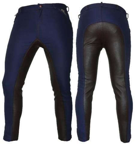 Blue-Black/Leather with Synthetic Leatherl Dressage & Horse Riding Pants Full Seat