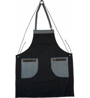 Ποδιά μαύρη τζιν με δερμάτινες λεπτομέρειες και κρίκο για την πετσέτα 85x65cm MARK713