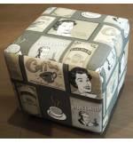 Σκαμπό Σαλονιού επένδυση δερματίνη και ύφασμα, πλαστικό ποδαράκι