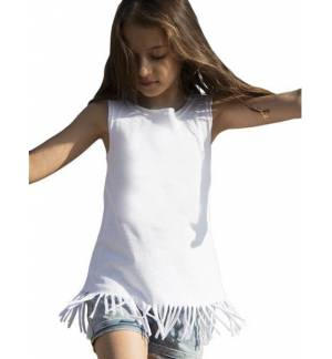 Παιδικό αμάνικο μπλουζο-φόρεμα από βαμβακερό ύφασμα με κρόσια