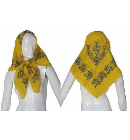 Παραδοσιακή μαντίλα Κίτρινη 100x100cm MARK790 Αξεσουάρ Παραδοσιακής Στολής