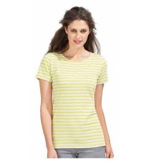 Sol's Miles Women 01399 Women's round neck striped t-shirt. 100% combed Ringspun cotton