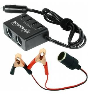 PowerPlus Azor 2 x 12-24V Car Accessory Output Kit 4 x USB