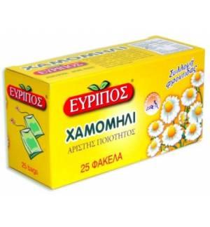 Χαμομήλι Εύριπος 25 φάκελα 0.87oz Φυσικό Χαλαρωτικό Τσάι Άριστης