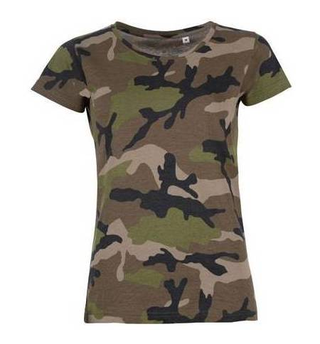 Sol's Camo Women 01187 Γυναικείο T-shirt παραλλαγής 100% βαμβάκι ringspun σεμί-πενιέ