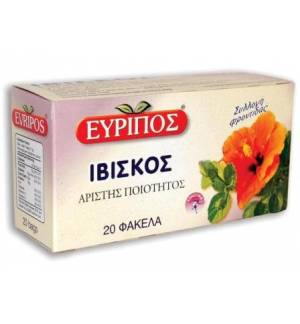 Ιβίσκος Τονωτικό Τσάι Εύριπος 20 Φάκελα Φυσικό Προϊόν Άριστης Ποιότητος