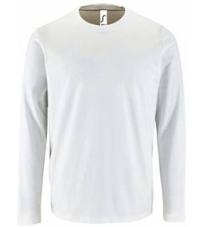 Sol's Imperial LSL Men White 02074 Men's round collar T-shirt long-sleeves
