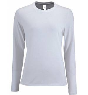 Sol's Imperial LSL Women White 02075 Women's round collar T-shirt long-sleeves