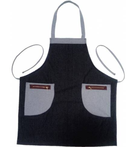 Ποδιά μαύρη Τζίν 100% βαμβάκι με δύο τσέπες MARK797