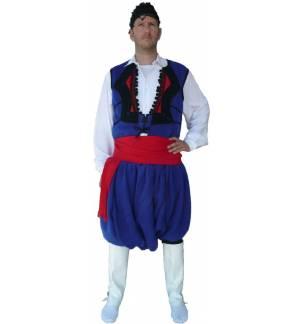 Greek Traditional Costume Wool Cretan Blue S-XL Men Man Kritikos MARK798