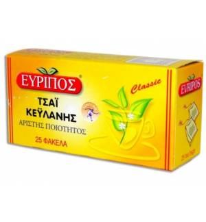 Κλασικό Μαύρο Τσάι Κεϋλάνης Εύριπος 25 Φάκελα Φυσικό τονωτικό
