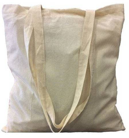 Eco Friendly Fabric Market Bag 100% Cotton Long Handles 38x42cm
