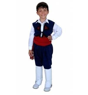Greek Traditional Costume Cretan Blue 2-12 Years old Kritikos MARK677
