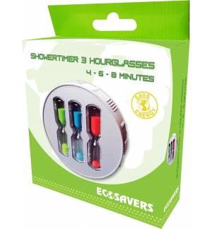Τριπλή Κλεψύδρα Μπάνιου Με Βεντούζα 4-6-8 Λεπτά EcoSavers ShowerTimer 3 ShowerCoach