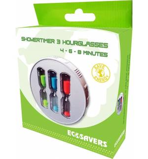 EcoSavers ShowerTimer HourGlass 3 4-6-8 Minutes ShowerCoach