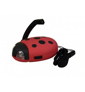 Powerplus Junior LADYBUG Mini Tiny Dynamo Crank Liferime LED Fla