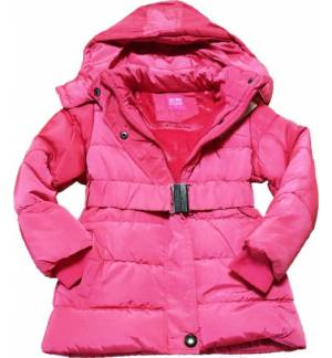 GIRL'S JACKET WITH BELT AND REMOVABLE HOOD PINK MARK853