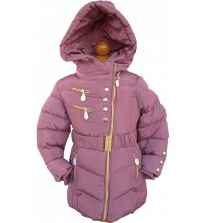 GIRL'S JACKET WITH BELT AND REMOVABLE HOOD BLUE MARK855