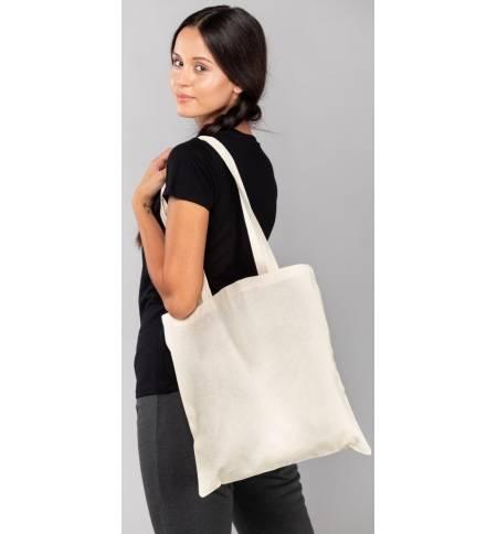 Eco Friendly Fabric Market Bag 100% Cotton Long Handles 38x42cm
