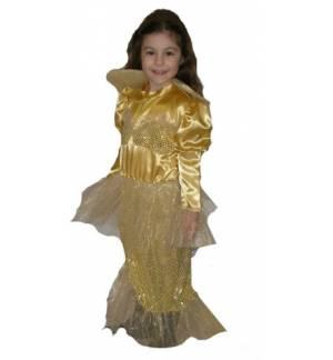 Carnival Halloween Costume kids golden Mermaid 10-14 years Old M
