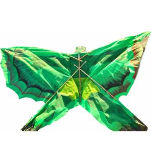 Fabric Kite Frog shaped 3D 130x75cm With line & Folding Wooden Frame MARK863