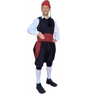 Greek Traditional Costume Islander for Men with black cross-buttoned lined vest MARK869