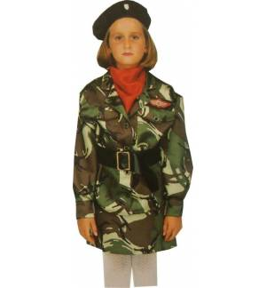 Carnival Halloween Costume kids Army Girl 6-8 years Old MARK543
