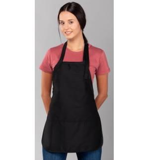 Waitress apron with 3 pockets adjustable White & Black one size